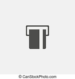 ATM card slot icon in a flat design in black color. Vector...
