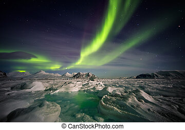 Northern Lights over the frozen Arctic fjord - Spitsbergen, Svalbard