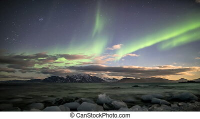 Northern Lights over the Arctic fjord - Northern Lights over...