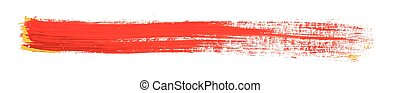 red brush strokes of paint on white background