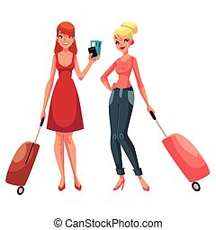 Two girls, in dress and jeans, travelling together with suitcases