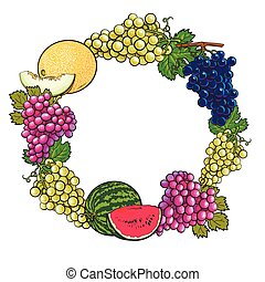 Round frame of white, green, purple grapes, melon and watermelon