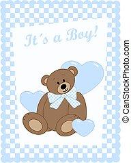 newborn baby boy - newborn baby card with a cute bear