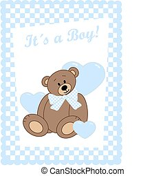newborn baby boy - newborn baby card with a cute bear