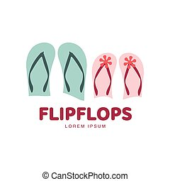 Stylized pair of three colored rubber flip flops logo...