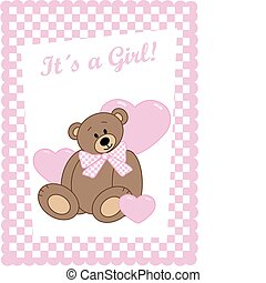 newborn baby girl - newborn baby card with a cute bear