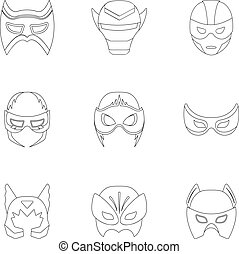 Superhero mask set icons in outline style. Big collection of...