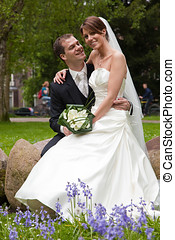 Bride and groom in the park - Beautiful bride and groom...