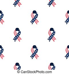 Patriotic ribbon icon in cartoon style isolated on white...