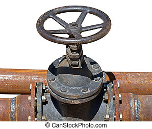 Rusted valve - old metal pipe with valve on white background