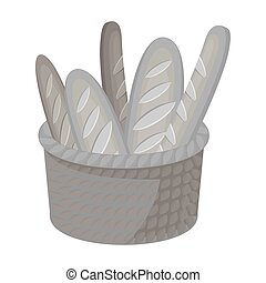 Basket of baguette icon in monochrome style isolated on white background. France country symbol stock vector illustration.