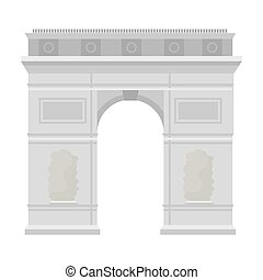 Triumphal arch icon in monochrome style isolated on white...