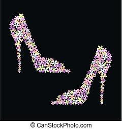 flor, sapatos