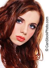 Beautiful redhead - Portrait of young fresh beautiful girl...