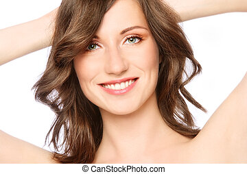 Happy woman - Beautiful happy smiling young healthy woman...