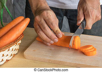 carrot - Fresh carrot with carrot slice on wood block