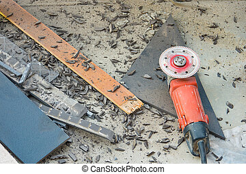 cut-off saw - Cutting and grinding concrete or metal using a...