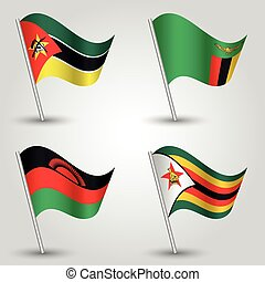 vector set of waving flags southeast africa on silver pole -...