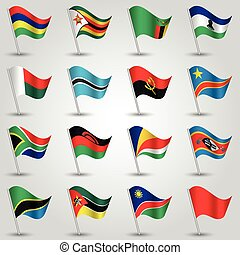 ector sets of waving flags southern africa on silver pole...
