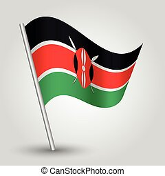 vector waving simple triangle kenyan flag on slanted silver...