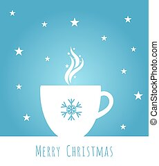 Blue Christmas coffee cup background illustration