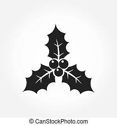 Holly berry icon - Holly berry Christmas black icon...