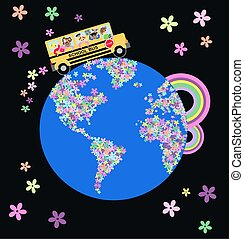 school bus on flower planet