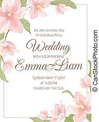 Wedding invitation magnolia sakura corner frame - Wedding...
