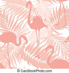Tropical palm leaves exotic flamingo birds pink - Tropical...