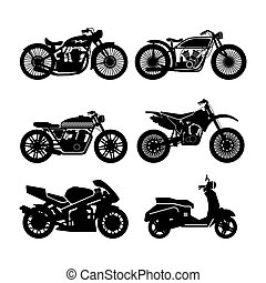 Motorcycle Icons set. - Motorcycle black icons set. vector...