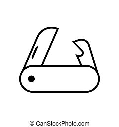 Pocket Knife Vector Icon - pocket knife on white background....