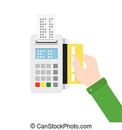 Hand inserting credit card to a POS terminal. - Payment...