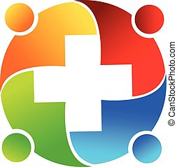 Logo teamwork medical people vector image design
