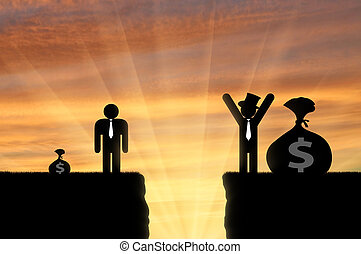 Gap between rich and poor man - Inequality concept. Gap...
