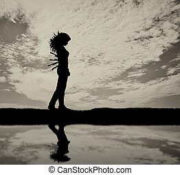 Betrayal and treachery concept. Silhouette of a sad woman...