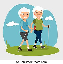 grandparents with sport clothes vector illustration design