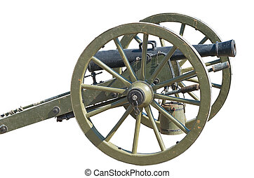 Old cannon - Ancient wheeled cast iron cannon isolated on...