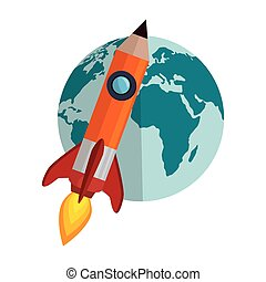 world planet with rocket