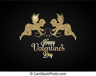 Valentines Day Heart. Gold angel Background.