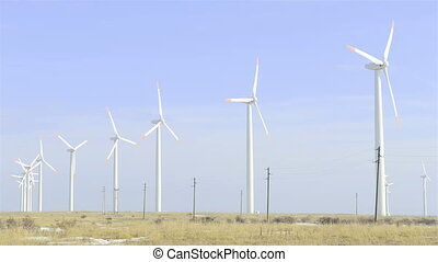 Wind Turbines electricity - Wind Turbines generating...