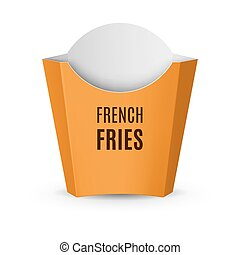 Packaging for French Fries - Fast Food Icon. Empty Yellow...