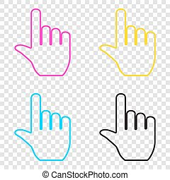 Hand sign illustration. CMYK icons on transparent...