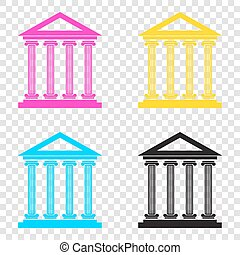 Historical building illustration. CMYK icons on transparent back