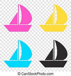 Sail Boat sign. CMYK icons on transparent background. Cyan,...