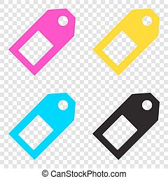 Price tag sign. CMYK icons on transparent background. Cyan,...
