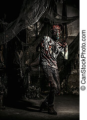 halloween doomsday - Terrible bloody zombie man with the...