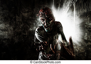 terrible halloween - Terrible bloody zombie man with the...