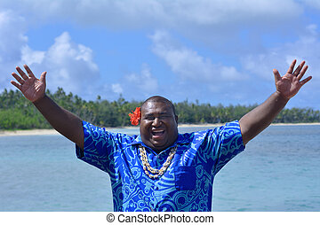 Fijian man greeting hello Bula - Fijian man greeting in...
