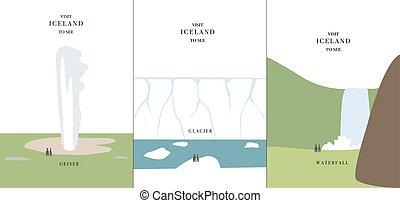 Geyser glacier waterfall simple cartoon design vector...