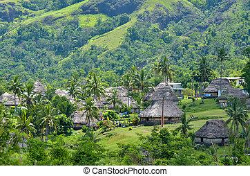 Figi, vista, villaggio, aereo,  navala